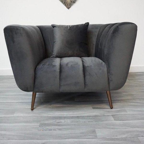 Fluted soft velvet dark grey sofa with rose gold legs(Testing)