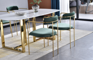 Bahrain dining set with emerald green gold dining chairs(Testing)