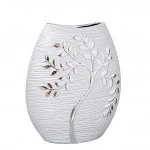HESTIA Silver Electroplated Tree Ceramic Oval Vase - 24cm