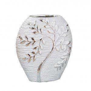 HESTIA Silver Electroplated Tree Ceramic Oval Vase - 20cm
