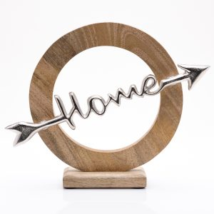 'Home' Arrow Wood and Metal Ornament 28cm