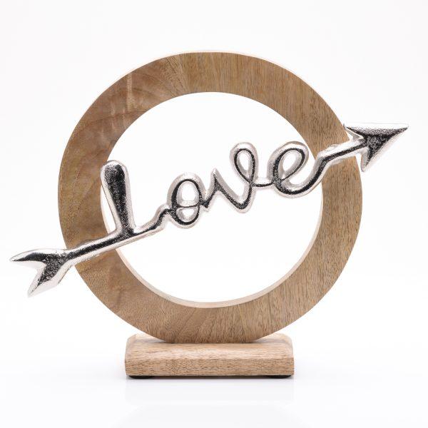 'Love' Arrow Wood and Metal Ornament 28cm