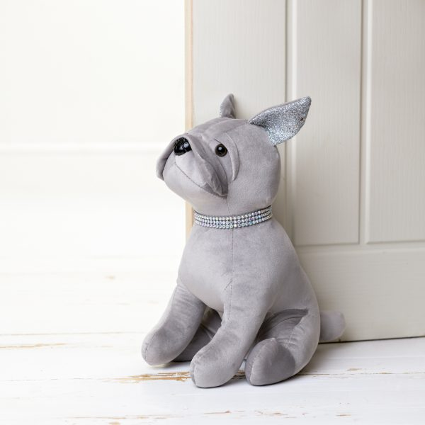 Hestia Silver Luxe Diamante Dog Door Stop
