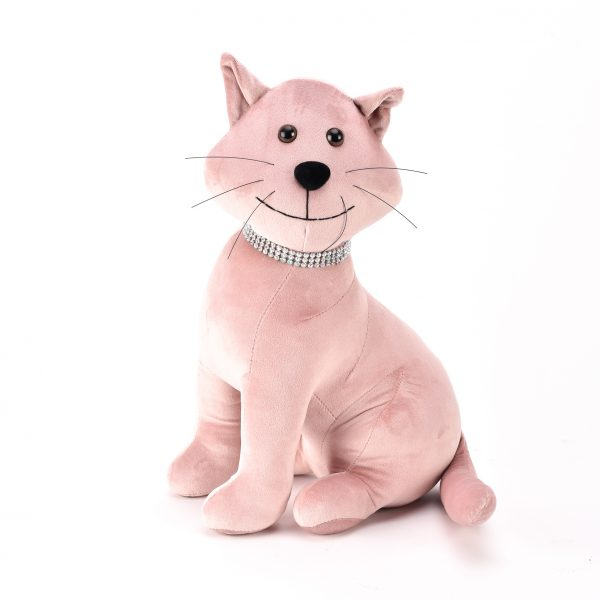 HESTIA Blush Cat Door Stop with Diamante Collar