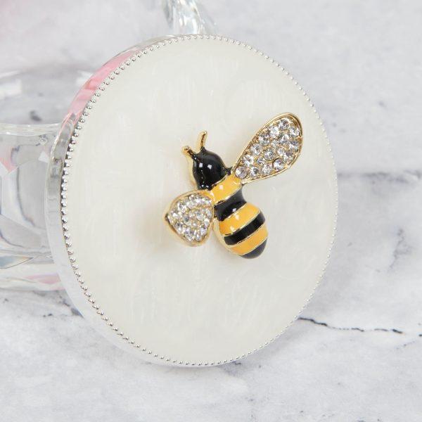 SOPHIA Silver Plated Bumble Bee Cut Glass Trinket Box
