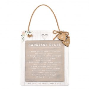 Love Story Wooden Marriage Rules Plaque