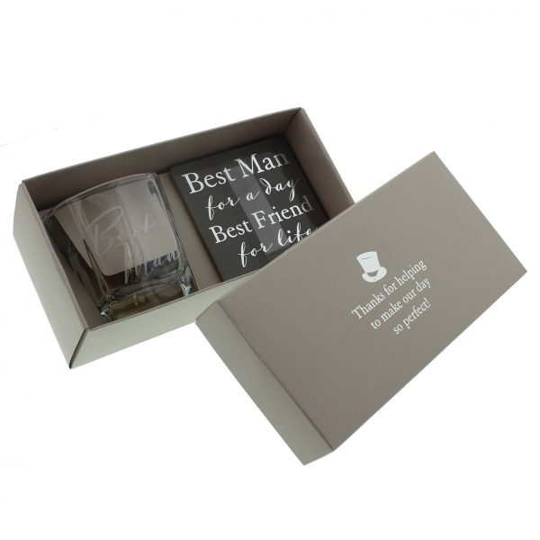 AMORE BY JULIANA Best Man Whisky Glass & Coaster