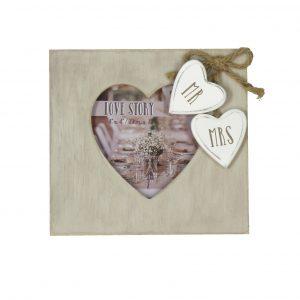 "4"" x 4"" - Love Story Heart Shaped Photo Frame - Mr & Mrs"