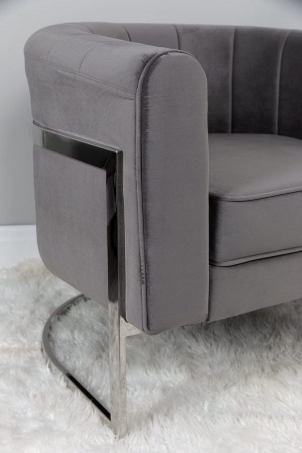 Smoke Grey Modern silver occasional chair bucket fluted chair