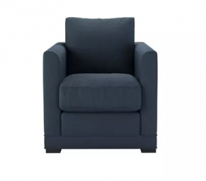 Aissa Armchair in Midnight Blue Brushed Linen Cotton