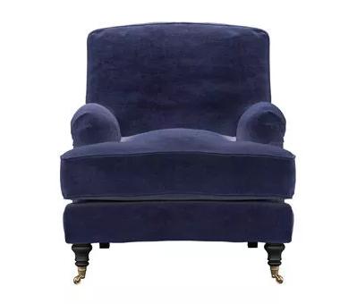 Bluebell Armchair in Prussian Blue Cotton Matt Velvet