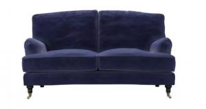 Bluebell 2 Seat Sofa in Prussian Blue Cotton Matt Velvet