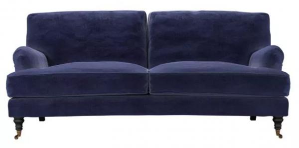 Bluebell 3 Seat Sofa in Prussian Blue Cotton Matt Velvet