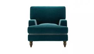 Isla Armchair in Deep Turquoise Cotton Matt Velvet