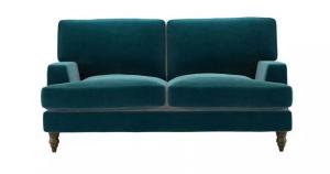 Isla 2 Seat Sofa in Deep Turquoise Cotton Matt Velvet