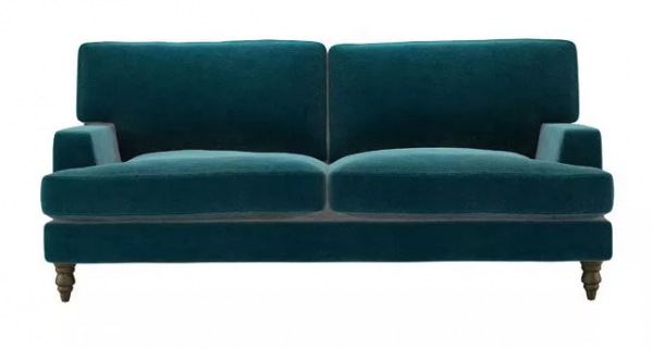 Isla 3 Seat Sofa in Deep Turquoise Cotton Matt Velvet