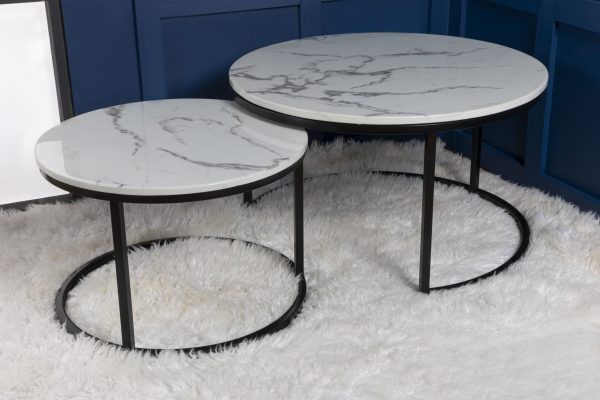 DUO Nesting Coffee Tables Matt Black White marble effect top