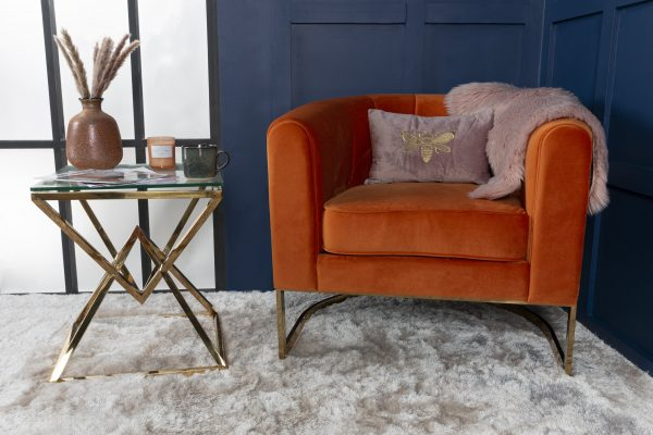 Burnt Orange Modern Gold occasional chair bucket fluted chair