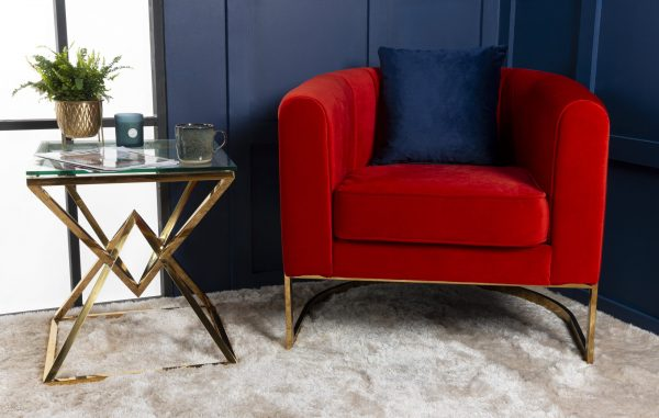 Red Modern Gold occasional chair bucket fluted chair
