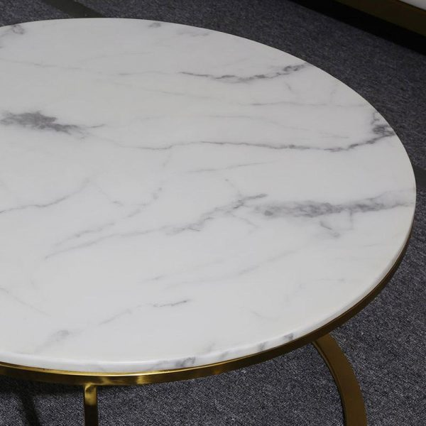 DUO Nesting Coffee Tables White marble effect top and gold stainless steel