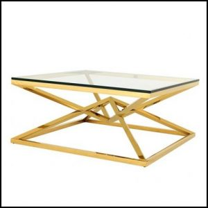 Giant GEO gold glass coffee table stainless steel